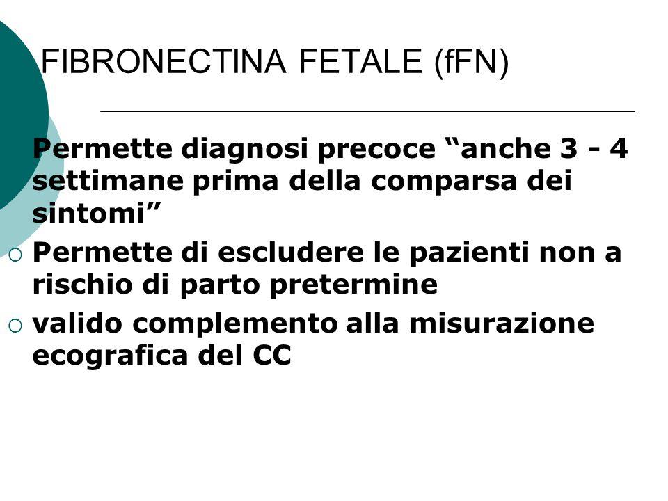 """FIBRONECTINA FETALE (fFN)  Permette diagnosi precoce """"anche 3 - 4 settimane prima della comparsa dei sintomi""""  Permette di escludere le pazienti non"""