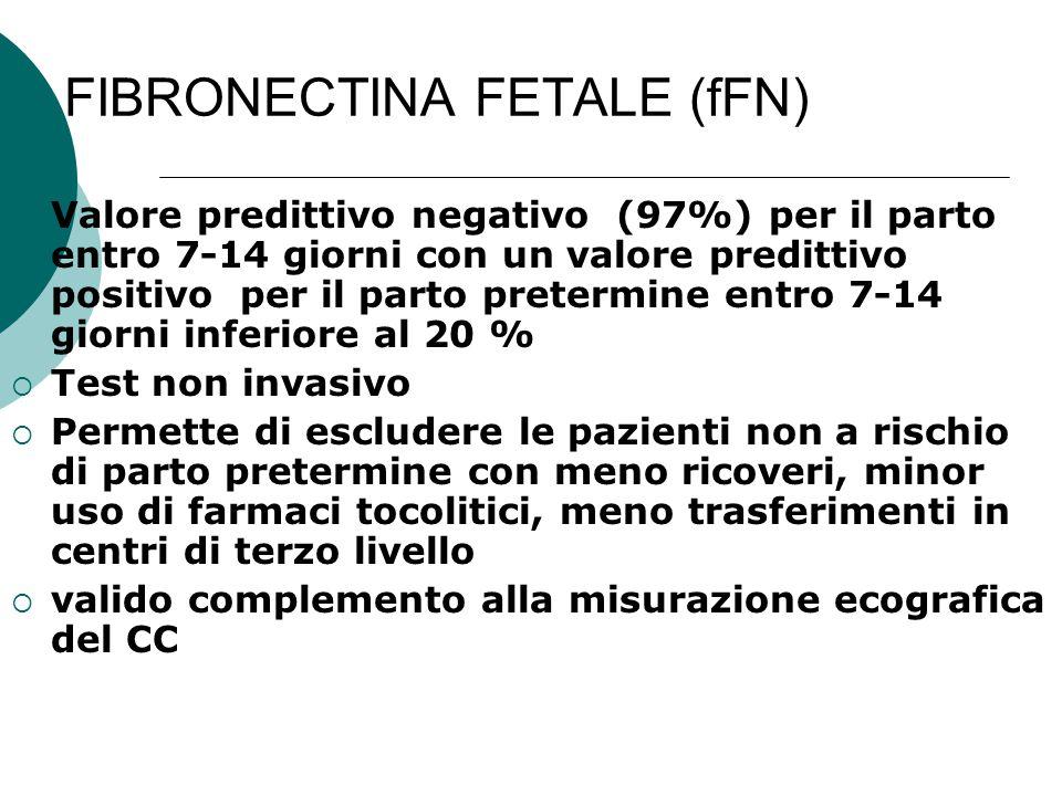 FIBRONECTINA FETALE (fFN)  Valore predittivo negativo (97%) per il parto entro 7-14 giorni con un valore predittivo positivo per il parto pretermine