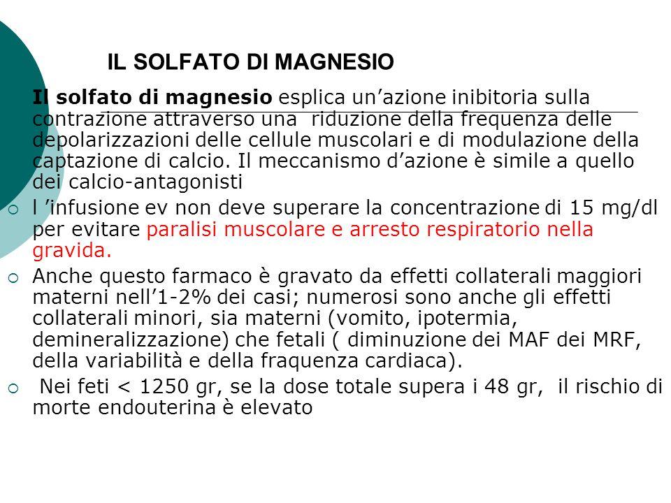 IL SOLFATO DI MAGNESIO  Il solfato di magnesio esplica un'azione inibitoria sulla contrazione attraverso una riduzione della frequenza delle depolari