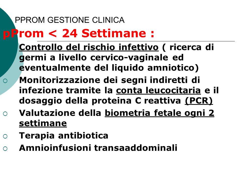 PPROM GESTIONE CLINICA pProm < 24 Settimane :  Controllo del rischio infettivo ( ricerca di germi a livello cervico-vaginale ed eventualmente del liq