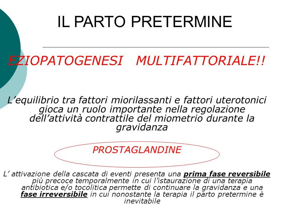 EZIOPATOGENESI MULTIFATTORIALE!! L'equilibrio tra fattori miorilassanti e fattori uterotonici gioca un ruolo importante nella regolazione dell'attivit