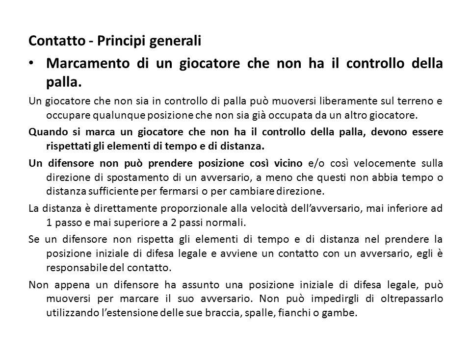Contatto - Principi generali Marcamento di un giocatore che non ha il controllo della palla.