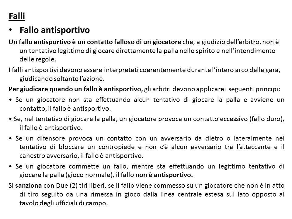 Falli Fallo antisportivo Un fallo antisportivo è un contatto falloso di un giocatore che, a giudizio dell'arbitro, non è un tentativo legittimo di giocare direttamente la palla nello spirito e nell'intendimento delle regole.