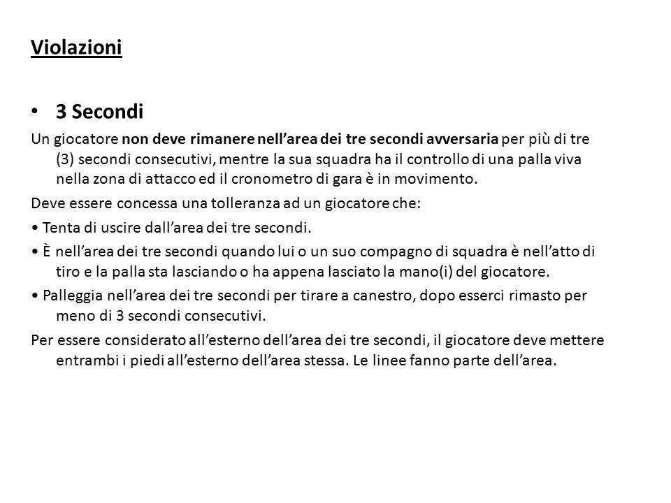 Violazioni 3 Secondi Un giocatore non deve rimanere nell'area dei tre secondi avversaria per più di tre (3) secondi consecutivi, mentre la sua squadra ha il controllo di una palla viva nella zona di attacco ed il cronometro di gara è in movimento.