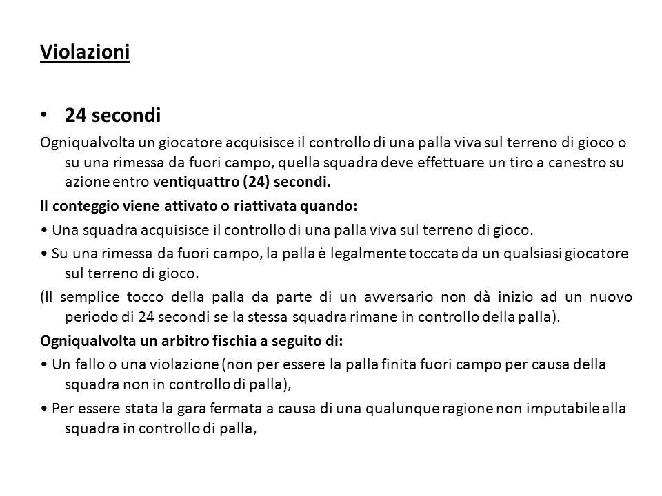 Violazioni 24 secondi Fermato e resettato a ventiquattro (24) secondi se: - La palla entra legalmente nel canestro.