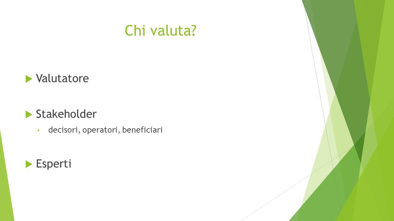 Chi valuta?  Valutatore  Stakeholder decisori, operatori, beneficiari  Esperti
