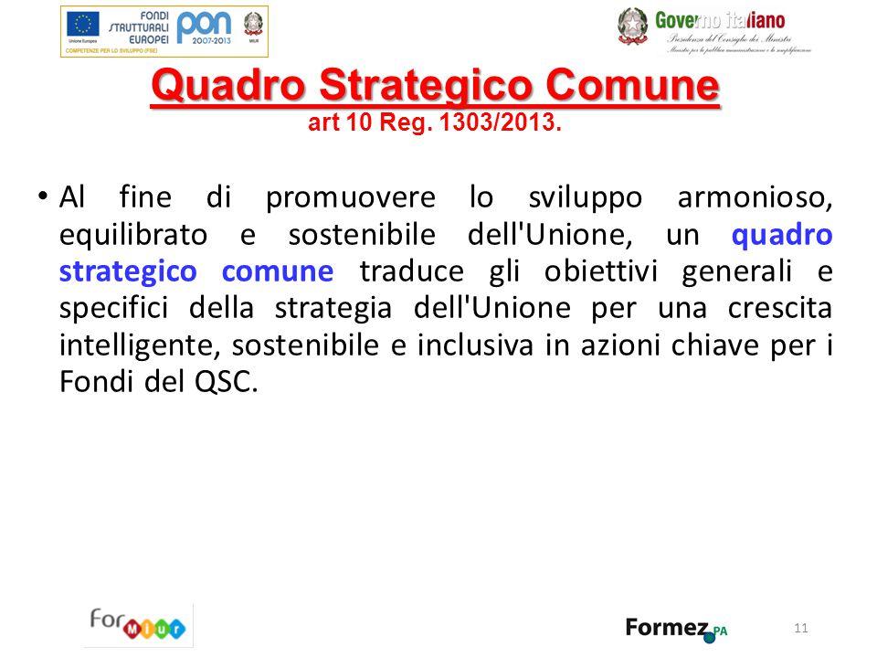 Quadro Strategico Comune Quadro Strategico Comune art 10 Reg. 1303/2013. Al fine di promuovere lo sviluppo armonioso, equilibrato e sostenibile dell'U