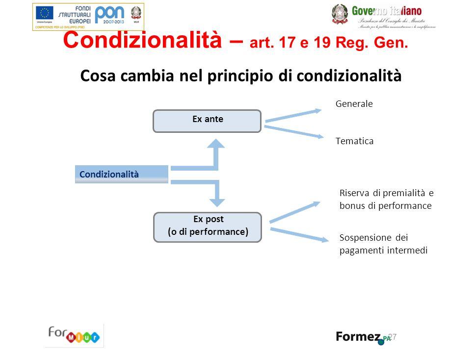 Cosa cambia nel principio di condizionalità Condizionalità Ex post (o di performance) Generale Tematica Riserva di premialità e bonus di performance S