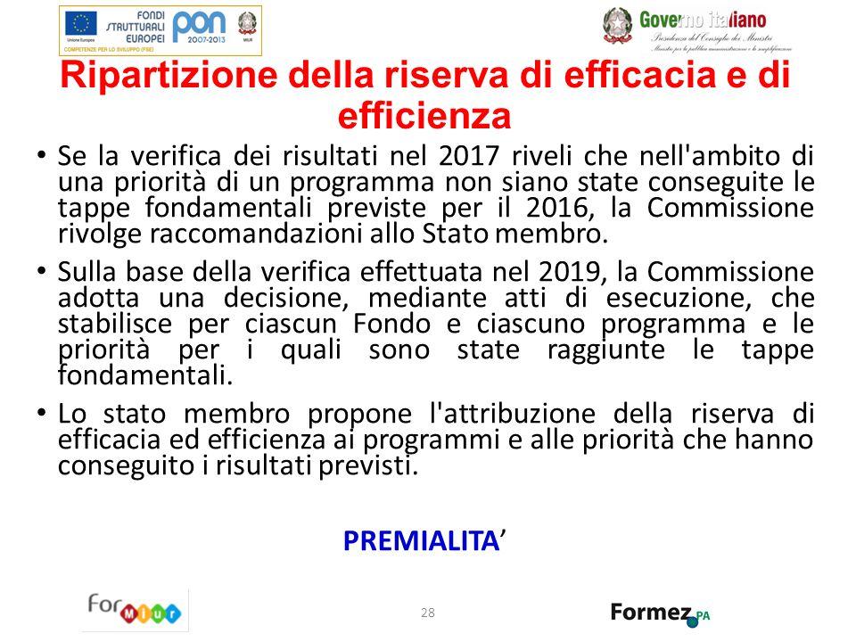 Ripartizione della riserva di efficacia e di efficienza Se la verifica dei risultati nel 2017 riveli che nell'ambito di una priorità di un programma n