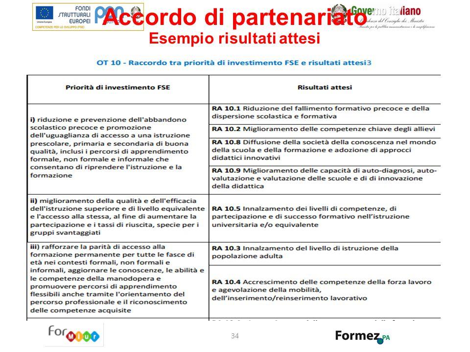Accordo di partenariato Esempio risultati attesi 34
