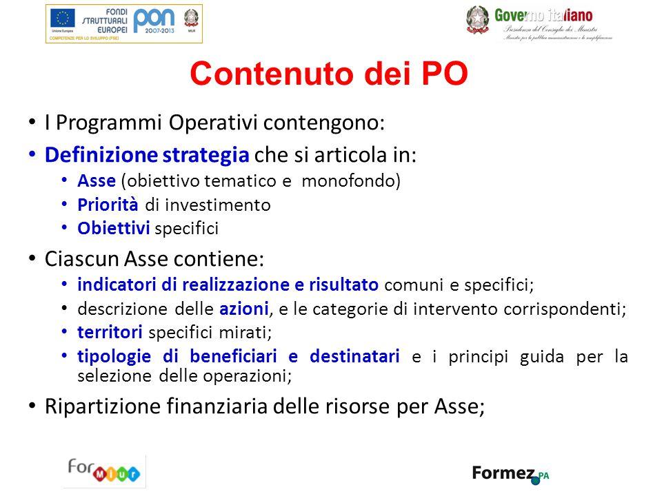 Contenuto dei PO I Programmi Operativi contengono: Definizione strategia che si articola in: Asse (obiettivo tematico e monofondo) Priorità di investi