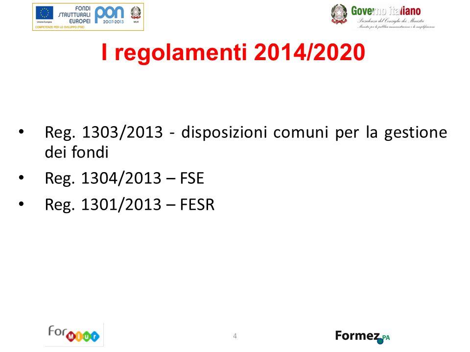 I regolamenti 2014/2020 Reg. 1303/2013 - disposizioni comuni per la gestione dei fondi Reg. 1304/2013 – FSE Reg. 1301/2013 – FESR 4