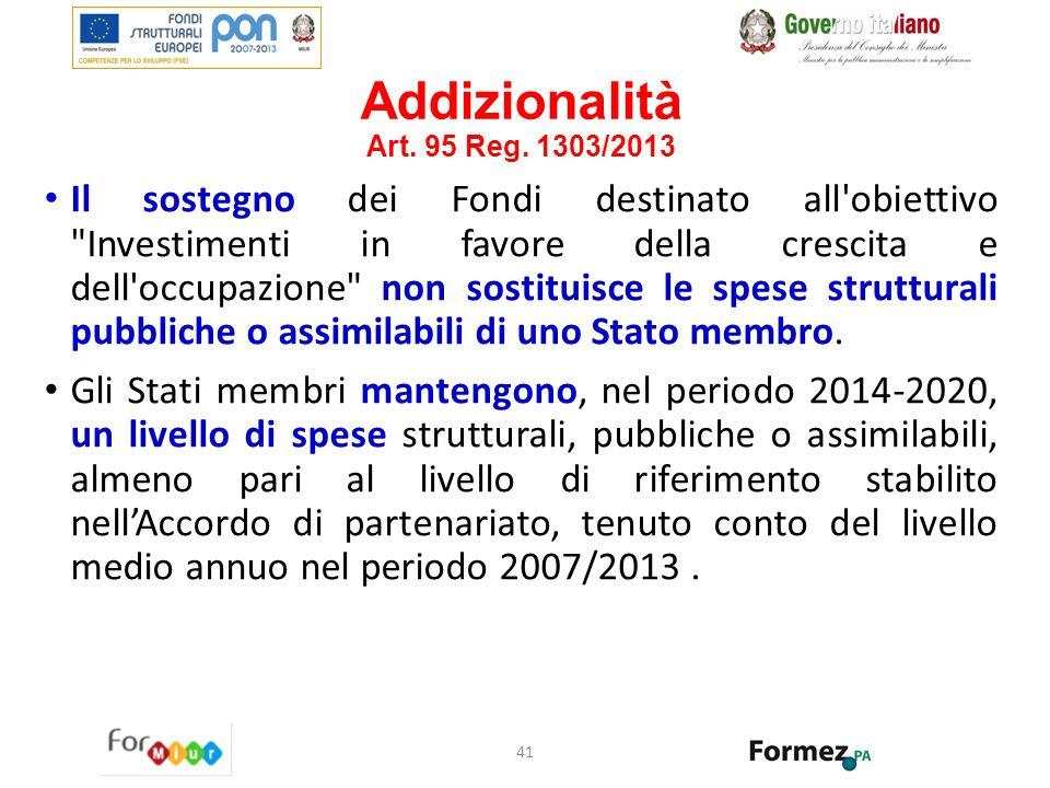 Addizionalità Art. 95 Reg. 1303/2013 Il sostegno dei Fondi destinato all'obiettivo