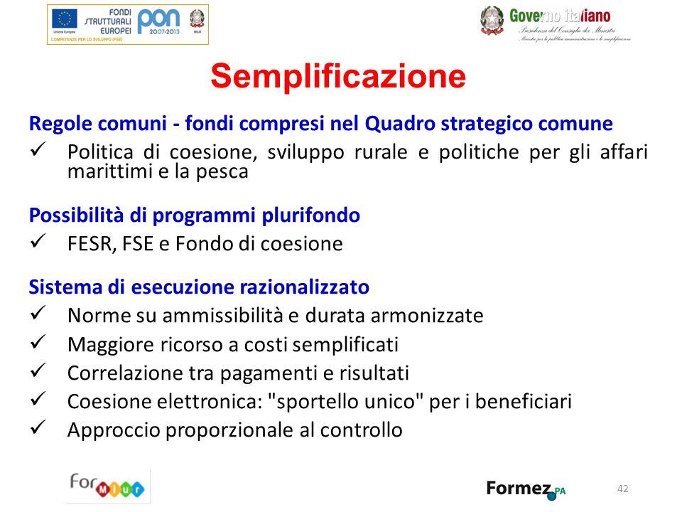 Semplificazione Regole comuni - fondi compresi nel Quadro strategico comune Politica di coesione, sviluppo rurale e politiche per gli affari marittimi