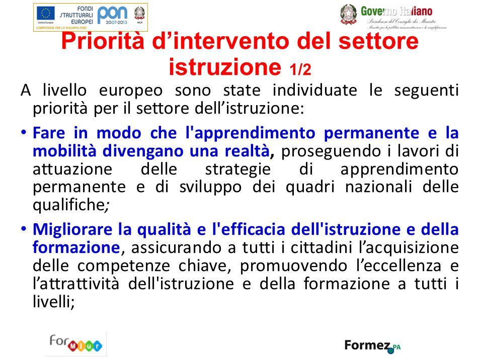 Priorità d'intervento del settore istruzione 1/2 A livello europeo sono state individuate le seguenti priorità per il settore dell'istruzione: Fare in