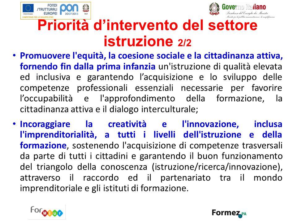 Priorità d'intervento del settore istruzione 2/2 Promuovere l'equità, la coesione sociale e la cittadinanza attiva, fornendo fin dalla prima infanzia