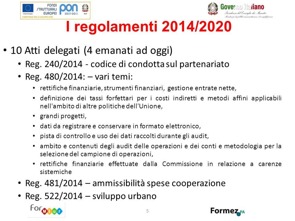 I regolamenti 2014/2020 10 Atti delegati (4 emanati ad oggi) Reg. 240/2014 - codice di condotta sul partenariato Reg. 480/2014: – vari temi: rettifich