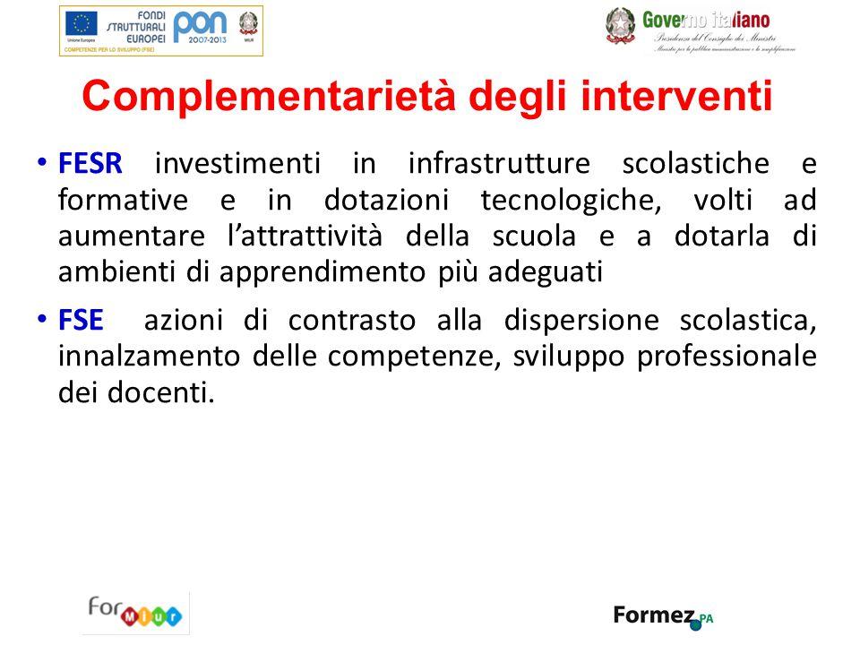 Complementarietà degli interventi FESR investimenti in infrastrutture scolastiche e formative e in dotazioni tecnologiche, volti ad aumentare l'attrat