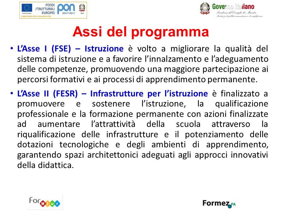 Assi del programma L'Asse I (FSE) – Istruzione è volto a migliorare la qualità del sistema di istruzione e a favorire l'innalzamento e l'adeguamento d