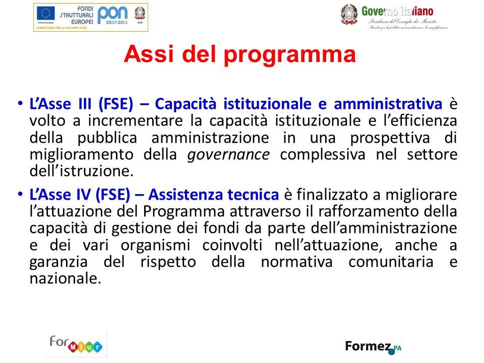 Assi del programma L'Asse III (FSE) – Capacità istituzionale e amministrativa è volto a incrementare la capacità istituzionale e l'efficienza della pu