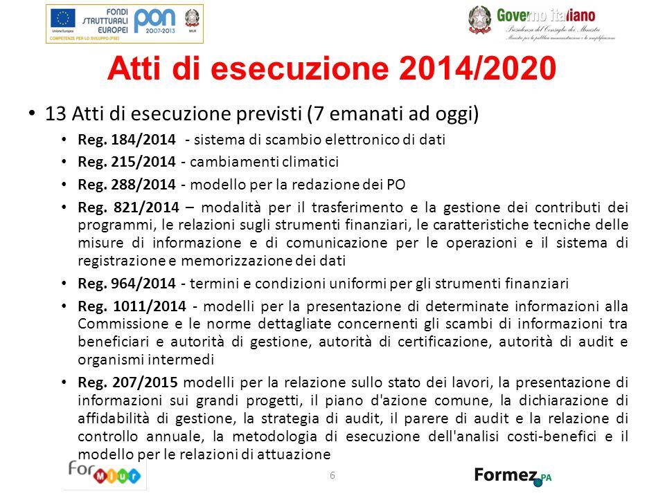Atti di esecuzione 2014/2020 13 Atti di esecuzione previsti (7 emanati ad oggi) Reg. 184/2014 - sistema di scambio elettronico di dati Reg. 215/2014 -