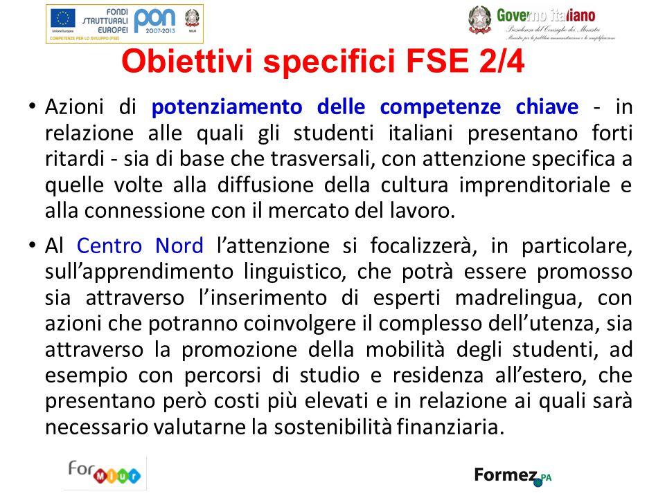 Obiettivi specifici FSE 2/4 Azioni di potenziamento delle competenze chiave - in relazione alle quali gli studenti italiani presentano forti ritardi -