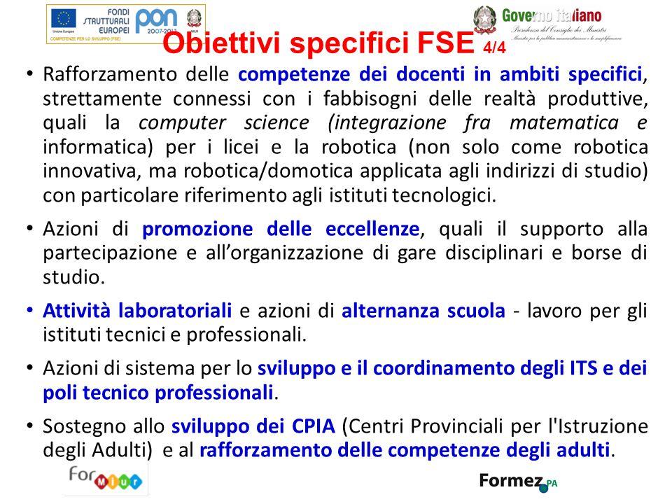 Obiettivi specifici FSE 4/4 Rafforzamento delle competenze dei docenti in ambiti specifici, strettamente connessi con i fabbisogni delle realtà produt