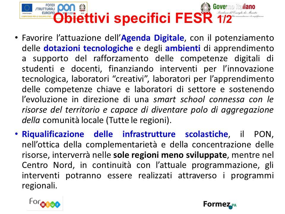 Obiettivi specifici FESR 1/2 Favorire l'attuazione dell'Agenda Digitale, con il potenziamento delle dotazioni tecnologiche e degli ambienti di apprend