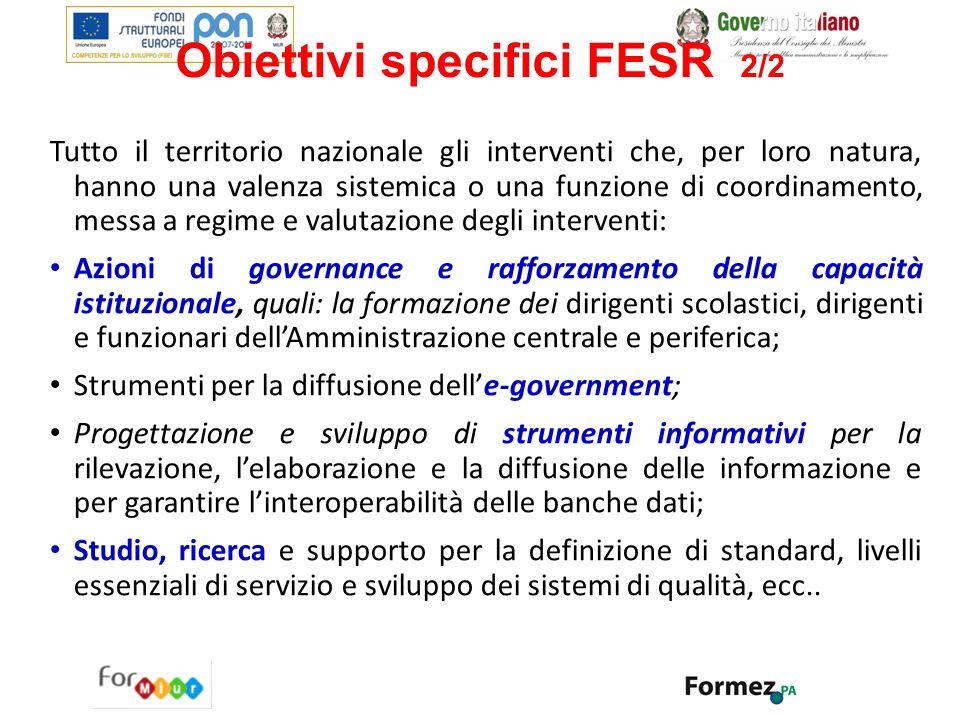 Obiettivi specifici FESR 2/2 Tutto il territorio nazionale gli interventi che, per loro natura, hanno una valenza sistemica o una funzione di coordina