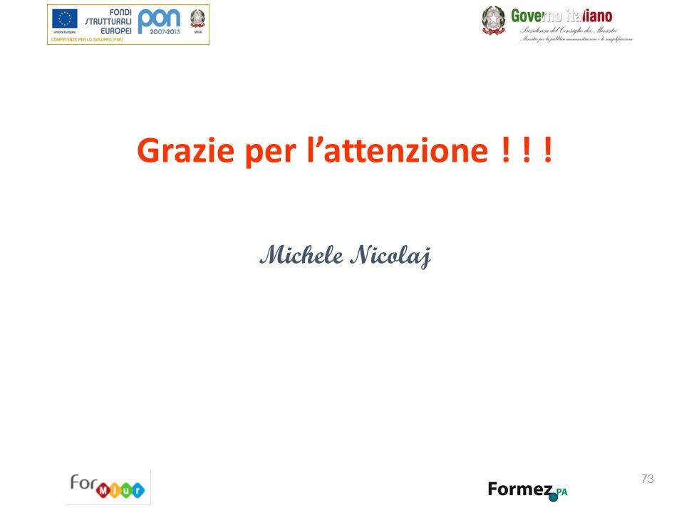 73 Grazie per l'attenzione ! ! ! Michele Nicolaj