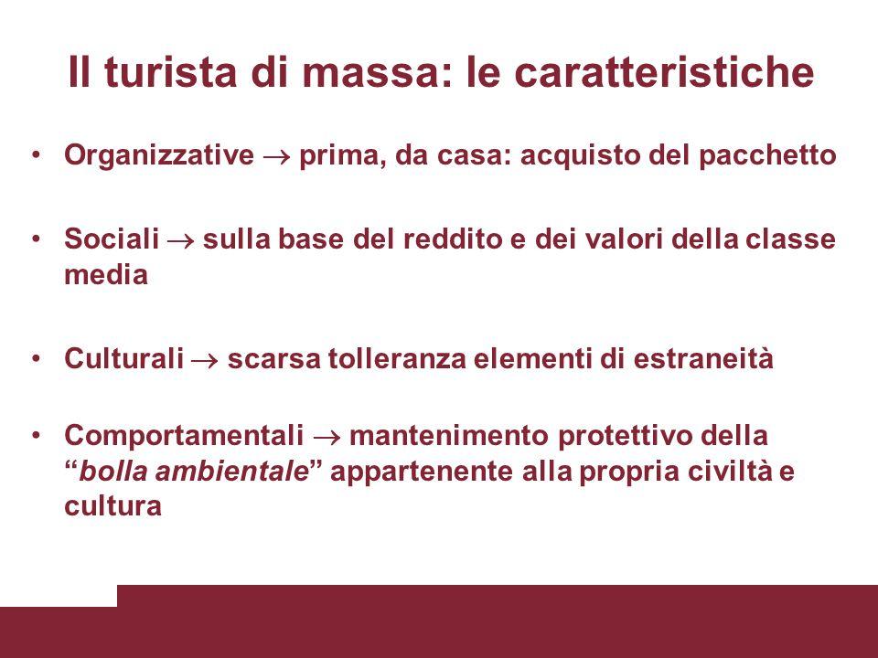 Il turista di massa: le caratteristiche Organizzative  prima, da casa: acquisto del pacchetto Sociali  sulla base del reddito e dei valori della cla