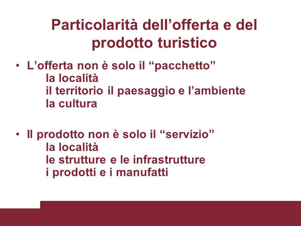 Particolarità dell'offerta e del prodotto turistico L'offerta non è solo il pacchetto la località il territorio il paesaggio e l'ambiente la cultura Il prodotto non è solo il servizio la località le strutture e le infrastrutture i prodotti e i manufatti