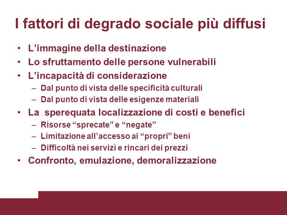 I fattori di degrado sociale più diffusi L'immagine della destinazione Lo sfruttamento delle persone vulnerabili L'incapacità di considerazione –Dal p
