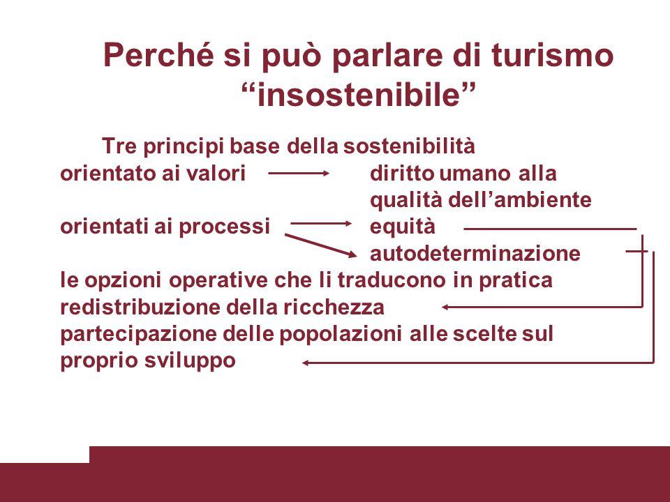 """Perché si può parlare di turismo """"insostenibile"""" Tre principi base della sostenibilità orientato ai valoridiritto umano alla qualità dell'ambiente ori"""