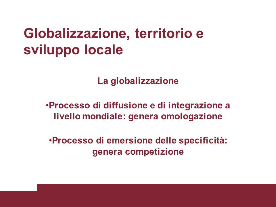 Globalizzazione, territorio e sviluppo locale La globalizzazione Processo di diffusione e di integrazione a livello mondiale: genera omologazione Processo di emersione delle specificità: genera competizione