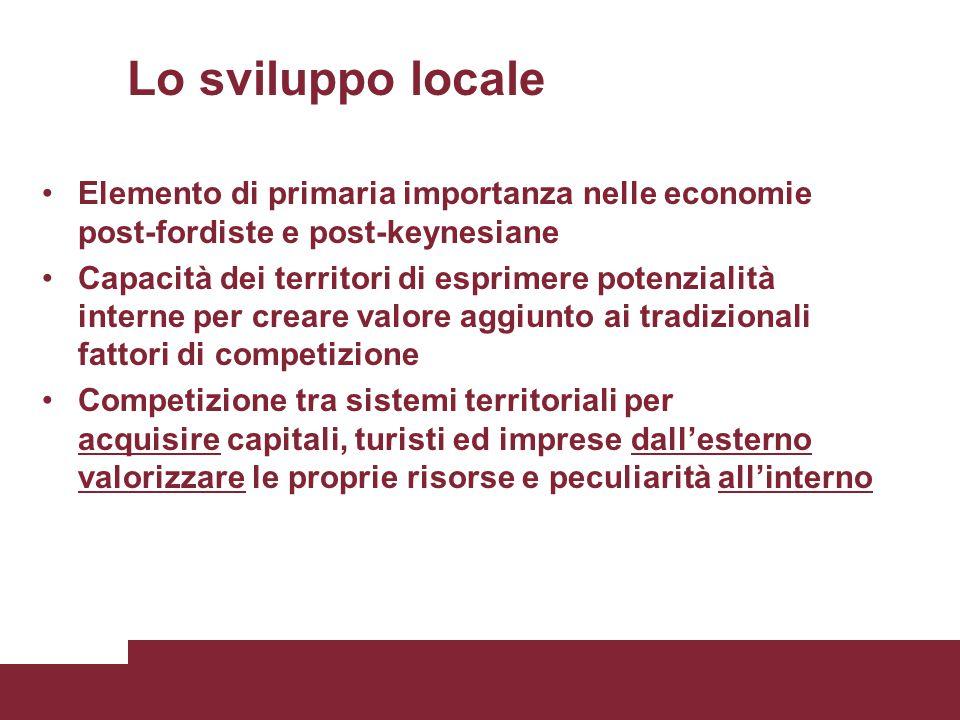 Lo sviluppo locale Elemento di primaria importanza nelle economie post-fordiste e post-keynesiane Capacità dei territori di esprimere potenzialità int