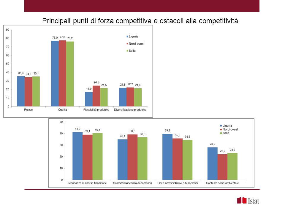 Principali punti di forza competitiva e ostacoli alla competitività
