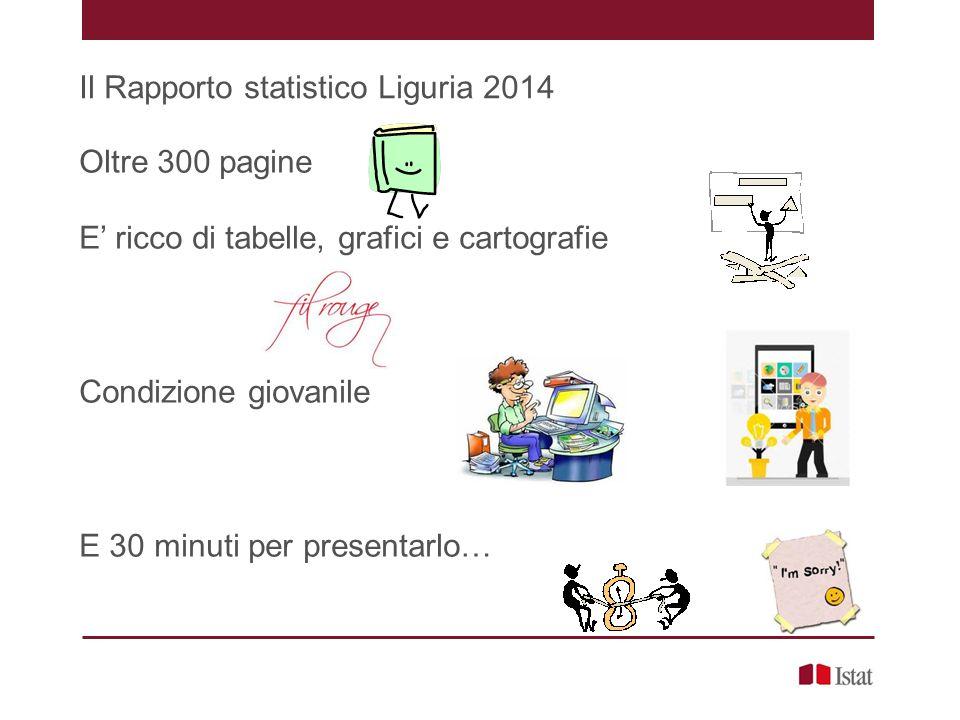 Il Rapporto statistico Liguria 2014 Oltre 300 pagine E' ricco di tabelle, grafici e cartografie Condizione giovanile E 30 minuti per presentarlo…