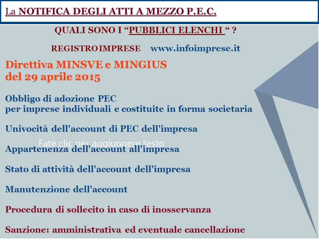 Fate clic per aggiungere testo Direttiva MINSVE e MINGIUS del 29 aprile 2015 Obbligo di adozione PEC per imprese individuali e costituite in forma soc