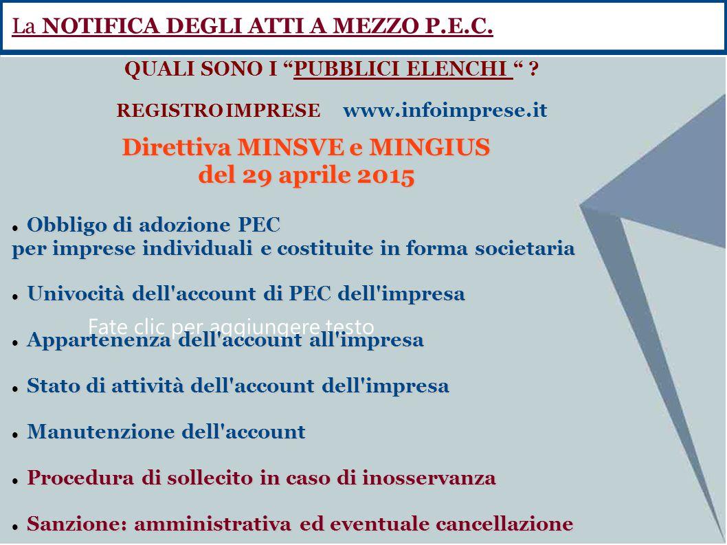 Fate clic per aggiungere testo Direttiva MINSVE e MINGIUS del 29 aprile 2015 Obbligo di adozione PEC Obbligo di adozione PEC per imprese individuali e