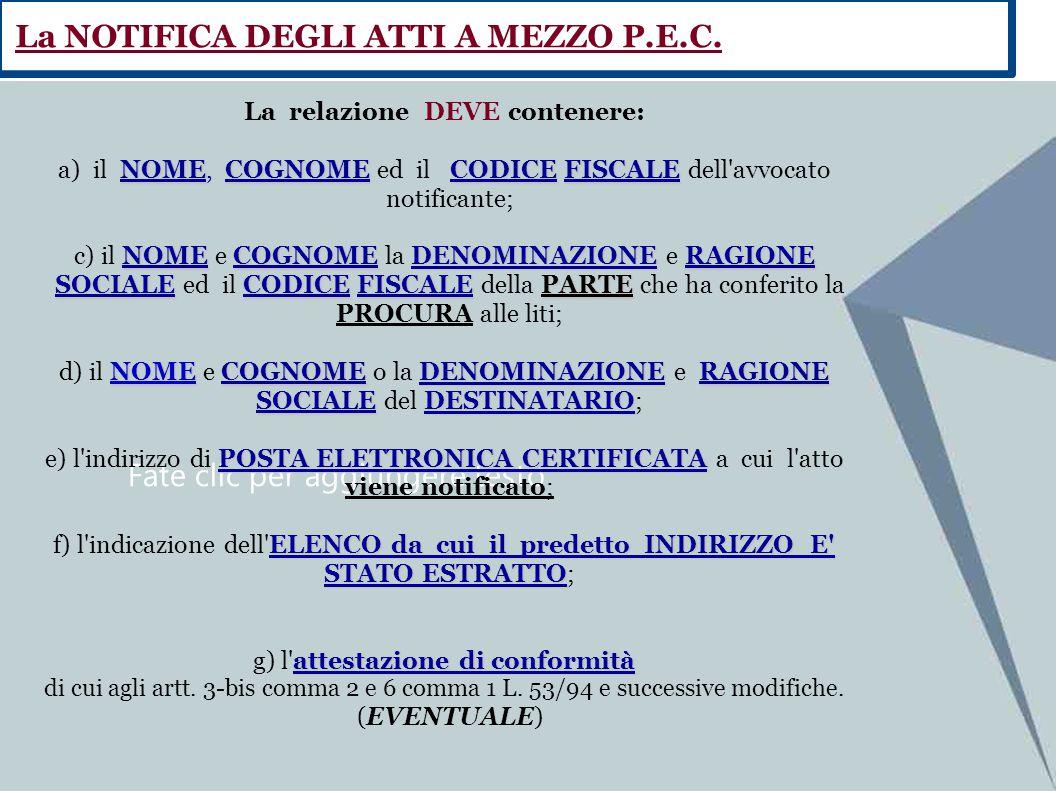 Fate clic per aggiungere testo La relazione DEVE contenere: NOMECOGNOMECODICEFISCALE a) il NOME, COGNOME ed il CODICE FISCALE dell'avvocato notificant