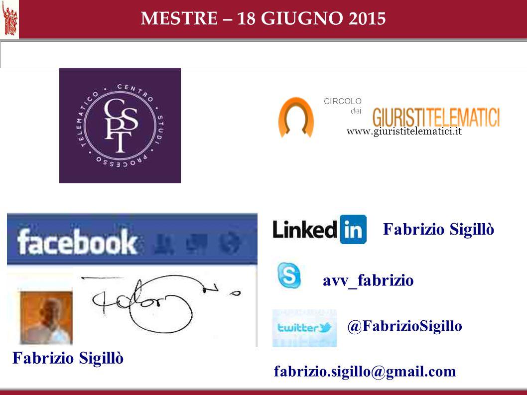 ...dopo il 30 dicembre 2014 avv_fabrizio @FabrizioSigillo fabrizio.sigillo@gmail.com Fabrizio Sigillò MESTRE – 18 GIUGNO 2015 www.giuristitelematici.i