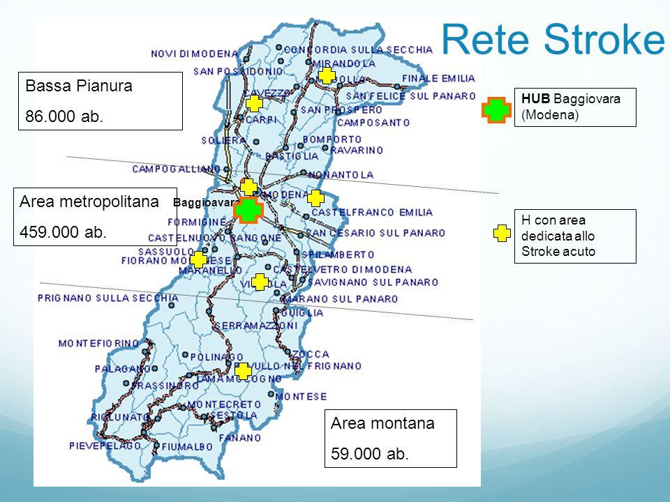 Baggioavara H con area dedicata allo Stroke acuto Area montana 59.000 ab. Area metropolitana 459.000 ab. Bassa Pianura 86.000 ab. HUB Baggiovara (Mode