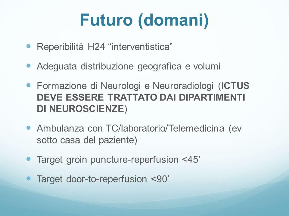 """Futuro (domani) Reperibilità H24 """" interventistica """" Adeguata distribuzione geografica e volumi Formazione di Neurologi e Neuroradiologi ( ICTUS DEVE"""