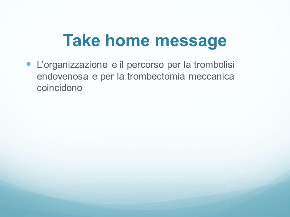 Take home message L ' organizzazione e il percorso per la trombolisi endovenosa e per la trombectomia meccanicacoincidono