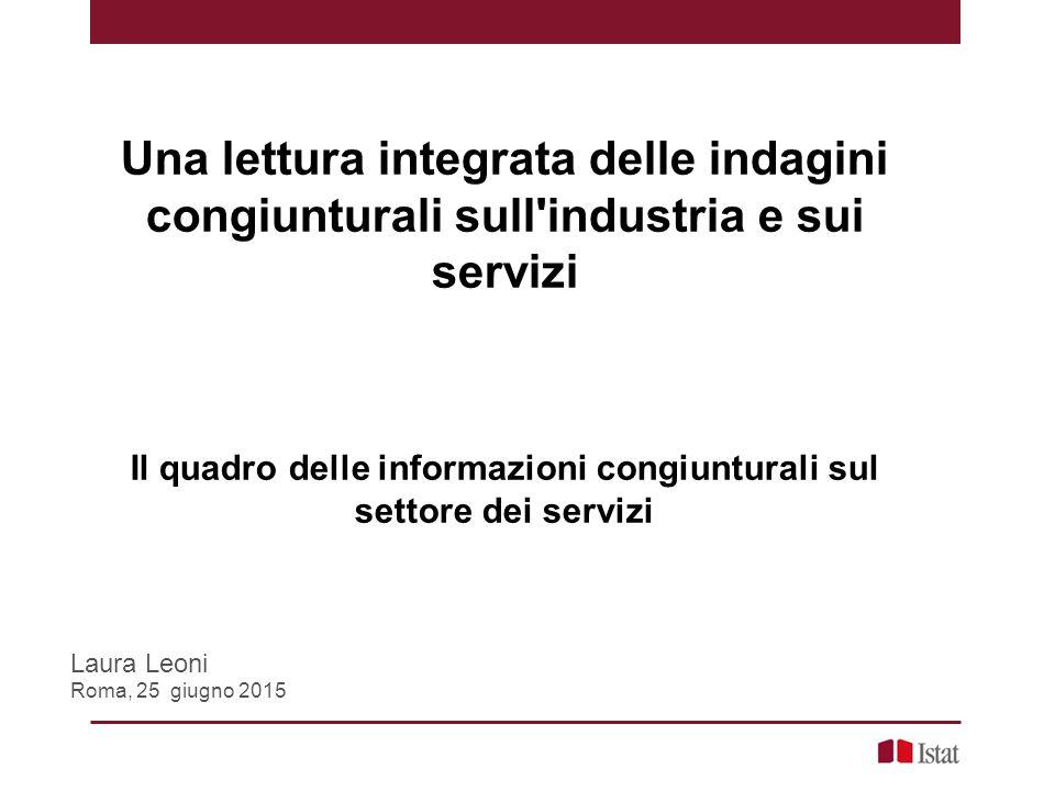 Una lettura integrata delle indagini congiunturali sull industria e sui servizi Il quadro delle informazioni congiunturali sul settore dei servizi Laura Leoni Roma, 25 giugno 2015