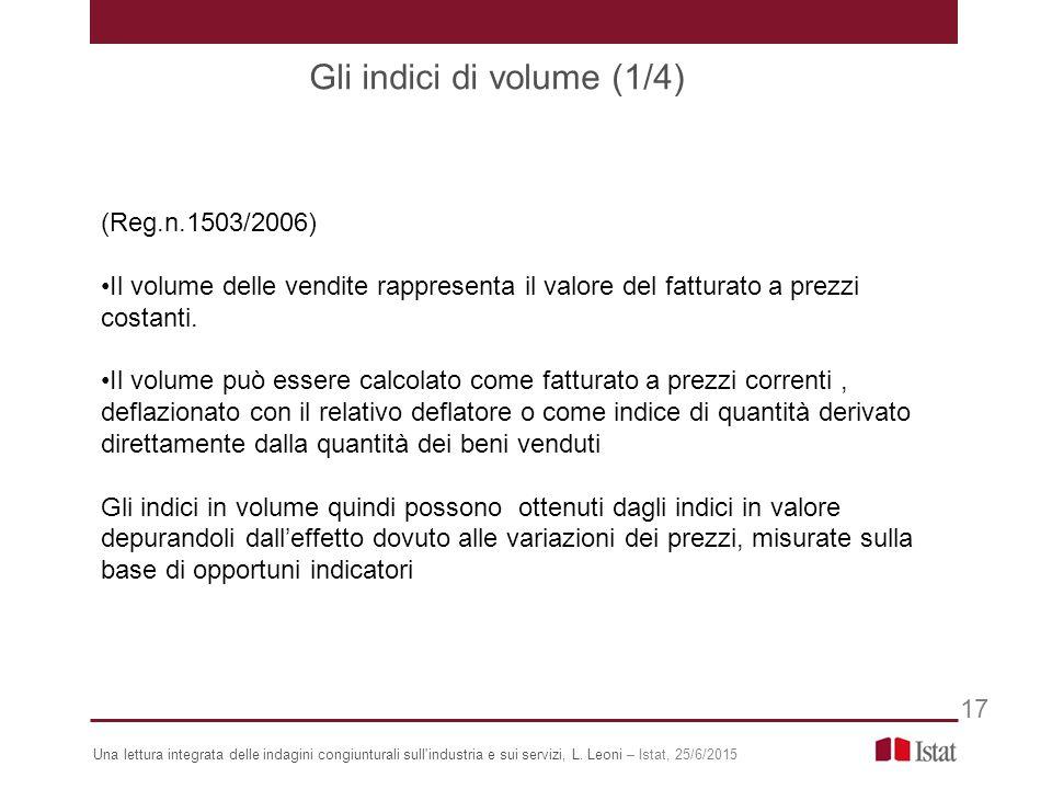 (Reg.n.1503/2006) Il volume delle vendite rappresenta il valore del fatturato a prezzi costanti.