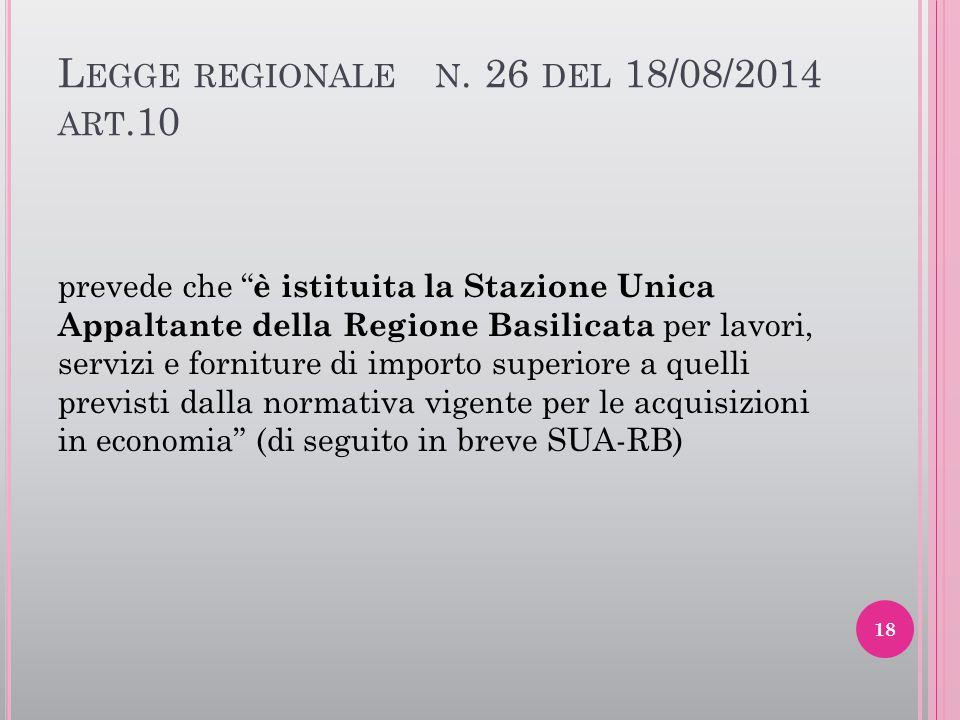 """L EGGE REGIONALE N. 26 DEL 18/08/2014 ART.10 prevede che """" è istituita la Stazione Unica Appaltante della Regione Basilicata per lavori, servizi e for"""