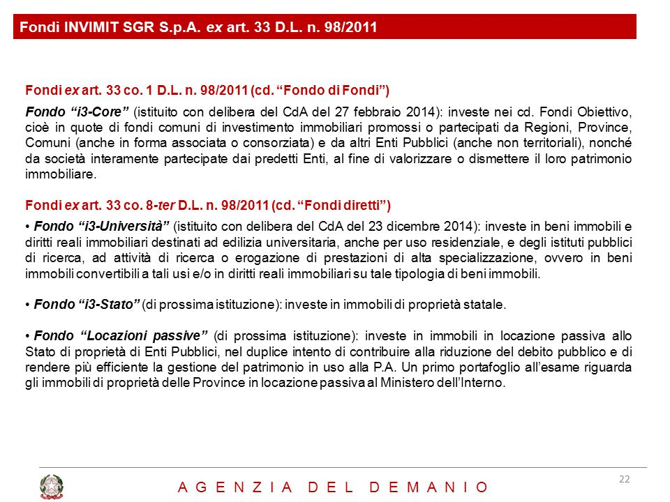 Fondi ex art.33 co. 1 D.L. n. 98/2011 (cd.
