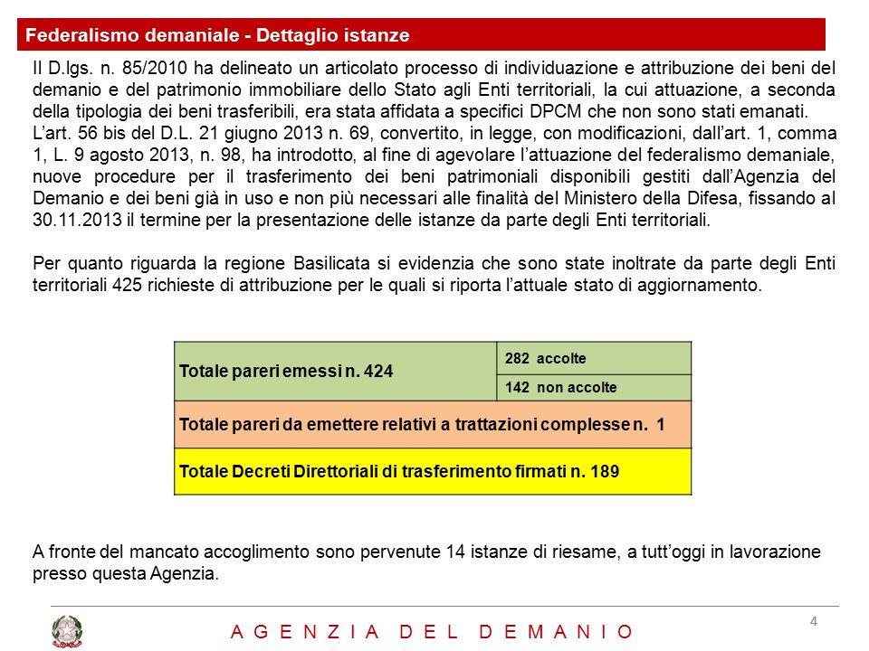 Federalismo demaniale - Dettaglio istanze 44 A G E N Z I A D E L D E M A N I O Il D.lgs. n. 85/2010 ha delineato un articolato processo di individuazi